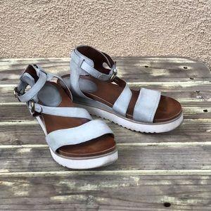 Miz Mooz Silver Grey Leather Platform Sandal 40 EU